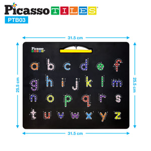PicassoTiles Double-Sided Magnetic Drawing Board 12x10 Upper Lower Case PTB03-BLK