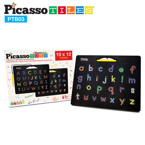Image of PicassoTiles Double-Sided Magnetic Drawing Board 12x10 Upper Lower Case PTB03-BLK