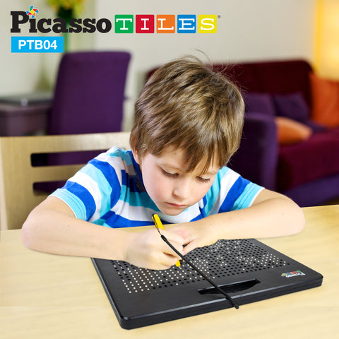 PicassoTiles Double-Sided Magnetic Drawing Board Alphabet Letter and Freestyle PTB04-BLK