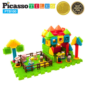 PicassoTiles® PTB100 Farm Theme Bristle Shape 100-Piece Basic Building Set
