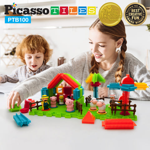 Image of PicassoTiles® PTB100 Farm Theme Bristle Shape 100-Piece Basic Building Set