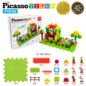 PicassoTiles® PTB100 Safari Theme Bristle Shape 100 Pcs Building Block