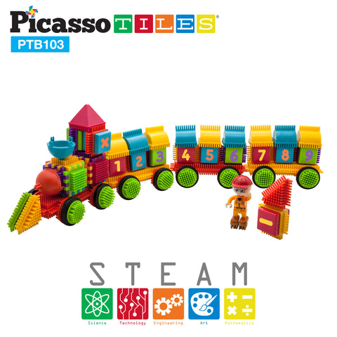 PicassoTiles® PTB103 Train Theme Bristle Shape Blocks 103pc Building Set