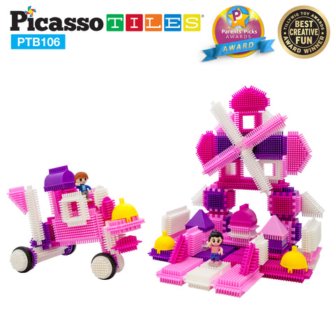 Image of PicassoTiles® PTB106 Pink Castle Bristle Shape Blocks 106 Psc Basic Building Set