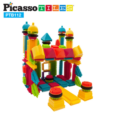 Image of PicassoTiles® PTB112 Bristle Shape Blocks 112pc Building Set
