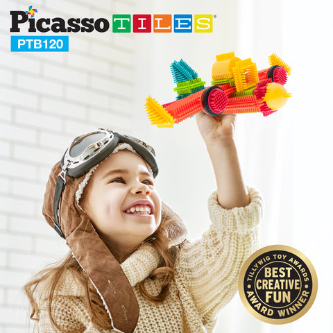PicassoTiles® PTB120 Bristle Shape Blocks 120-Piece Basic Building Set