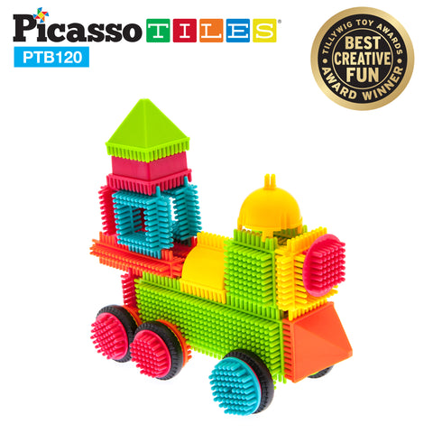 Image of PicassoTiles® PTB120 Bristle Shape Blocks 120-Piece Basic Building Set