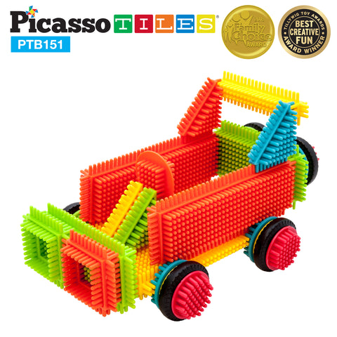 Image of PicassoTiles® PTB151 Truck Theme Bristle Shape 151 Pcs Building Set