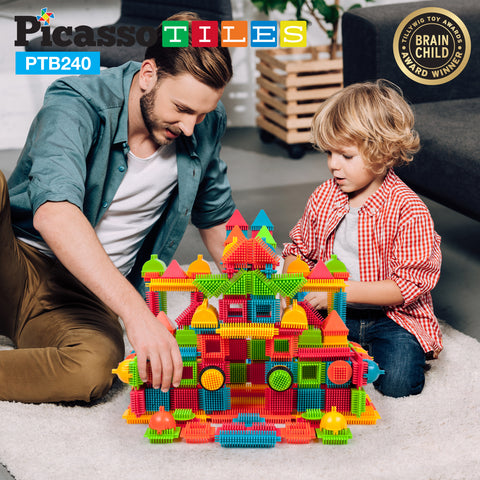 Image of PicassoTiles® PTB240 Bristle Shape Blocks 240 Pcs Basic Building Set