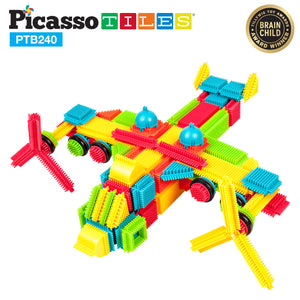 PicassoTiles® PTB240 Bristle Shape Blocks 240 Pcs Basic Building Set