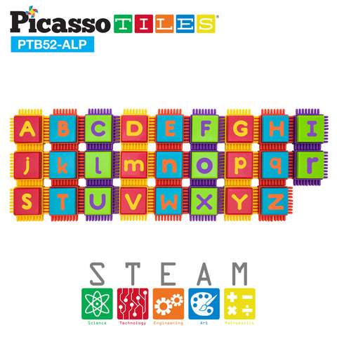 Image of PicassoTiles® PTB52 Bristle Shape Blocks 52pc Alphabet Building Set