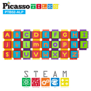 PicassoTiles® PTB52 Bristle Shape Blocks 52pc Alphabet Building Set