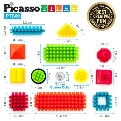 Image of PicassoTiles® PTB60 Bristle Shape Blocks 60-Piece Basic Building Set