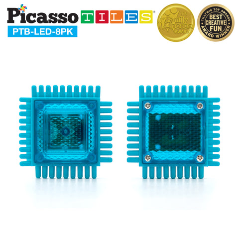 Image of PicassoTiles® PTB-LED-8PK 8 Piece Glow in the Dark LED Bristle Shape Block Set