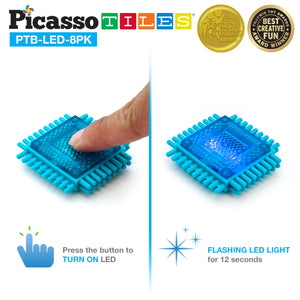 PicassoTiles® PTB-LED-8PK 8 Piece Glow in the Dark LED Bristle Shape Block Set