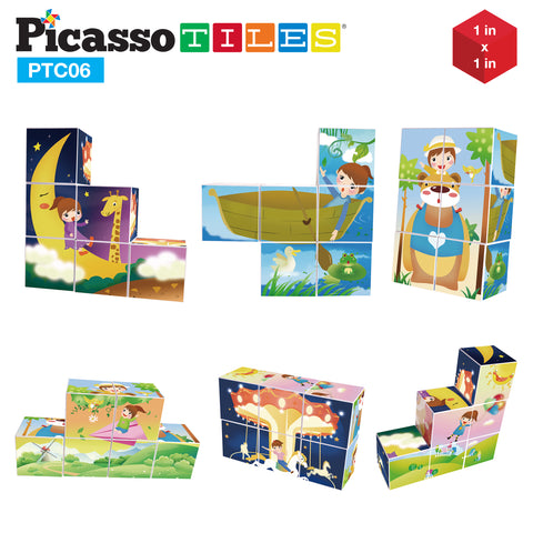 PicassoTiles® 6 Piece Magnetic Magic Puzzle Cube Set PTC06