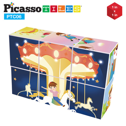 PicassoTiles® 6 Piece Magnetic Magic Puzzle Cube Set
