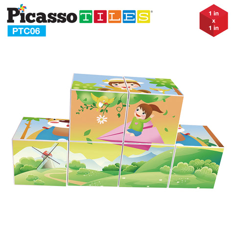 Image of PicassoTiles® 6 Piece Magnetic Magic Puzzle Cube Set