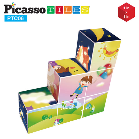 Image of PicassoTiles® 6 Piece Magnetic Magic Puzzle Cube Set PTC06