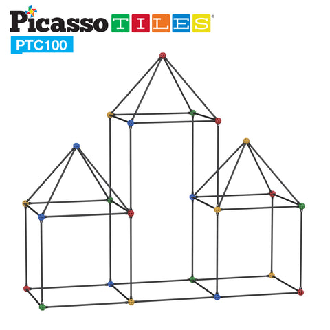 Image of PicassoTiles 100 Piece Fort Building Kit