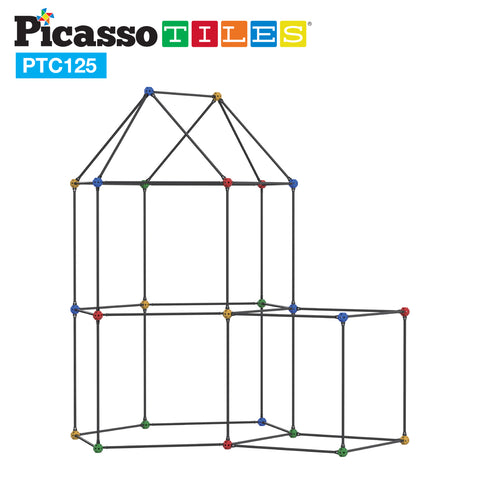 PicassoTiles 125 Piece Fort Building Kit PTC125