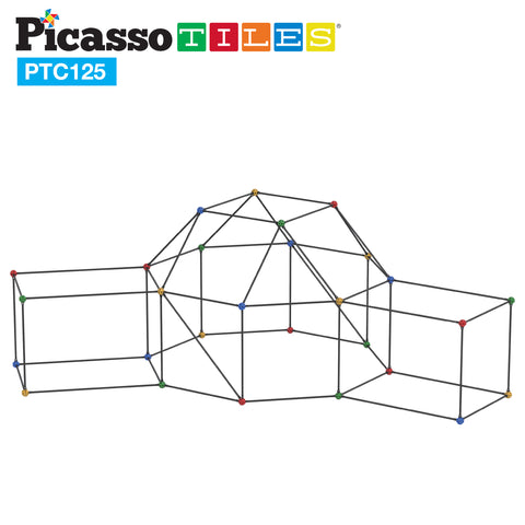 Image of PicassoTiles 125 Piece Fort Building Kit PTC125