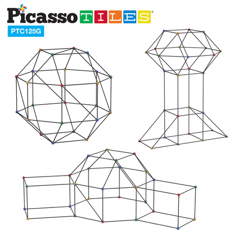 Image of PicassoTiles 125 Piece Fort Building Kit PTC125 Glow in Dark