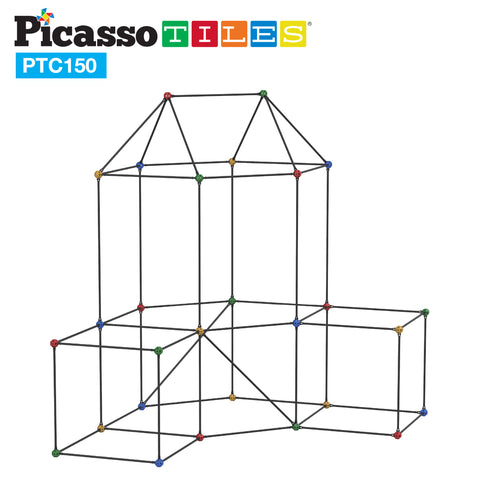 PicassoTiles 150 Piece Fort Building Kit PTC150