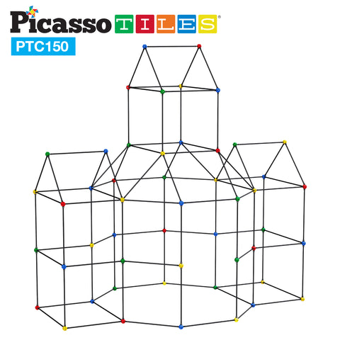 Image of PicassoTiles 150 Piece Fort Building Kit PTC150