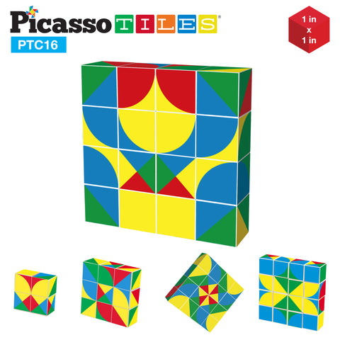 PicassoTiles 16 Piece Infinite Magnetic Puzzle Magic Pixy Cube Game Set PTC16