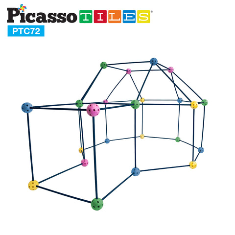 Image of PicassoTiles 72 Piece Fort Building Kit