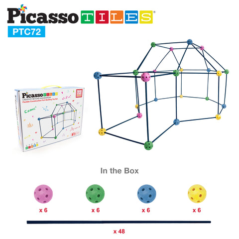 PicassoTiles 72 Piece Fort Building Kit