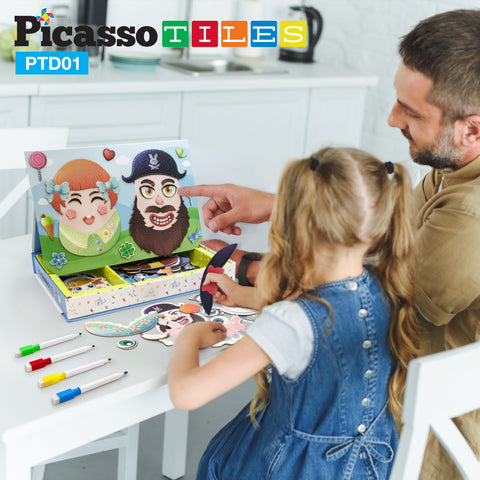 Image of PicassoTiles 102 Piece Magnetic Puzzle Faceboard Game Board Activity Book PTD01