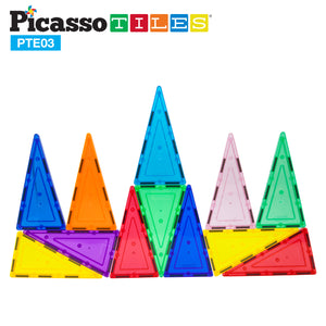 PicassoTiles® 12 Piece Tall Triangle Expansion Pack PTE03