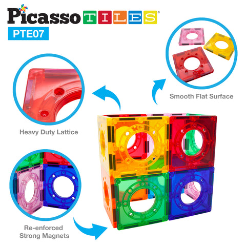 Image of PicassoTiles 12 Piece Marble Run Square Joint Expansion Pack PTE07