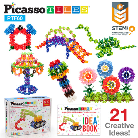 Image of PicassoTiles 600pc Building Flakes Construction Toy Interlocking Blocks