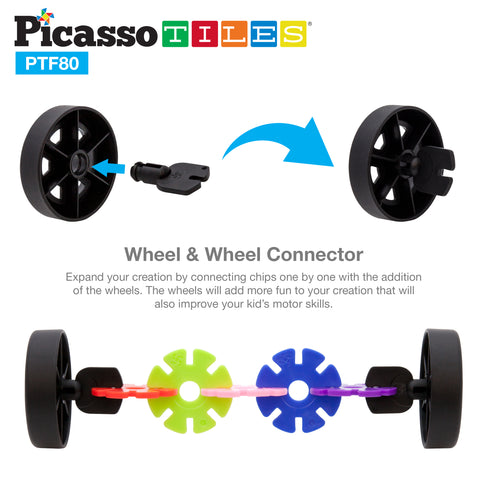 PicassoTiles 800pc Building Chips with 10 Wheels PTF80