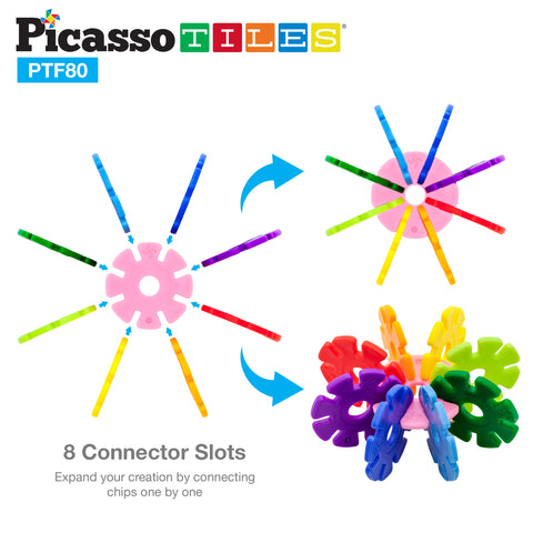 PicassoTiles 800pc Building Flakes with 10 Wheels