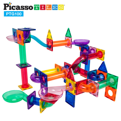 Image of PicassoTiles® 100pc Marble Run Building Blocks PTG100