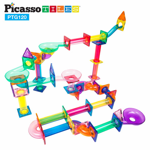 Image of PicassoTiles 120 Pieces Marble Run Building Blocks