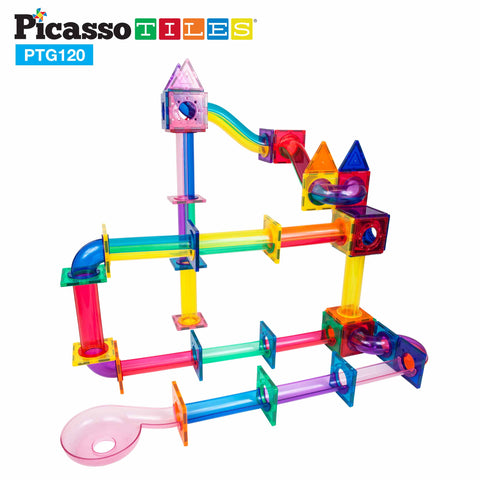 Image of PicassoTiles 120 Pieces Marble Run Building Blocks PTG120