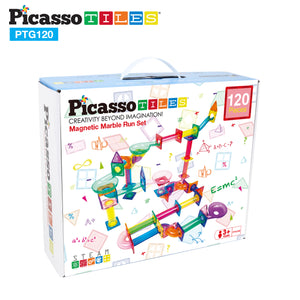 PicassoTiles 120 Pieces Marble Run Building Blocks PTG120