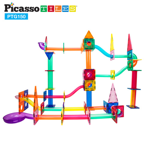 Image of PicassoTiles® 150 Pieces Marble Run Building Blocks PTG150
