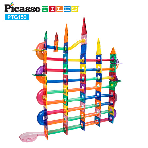 PicassoTiles® 150 Pieces Marble Run Building Blocks PTG150