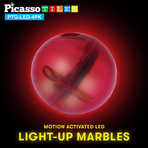 Image of PicassoTiles Motion Activated LED Light-Up Marbles for Marble Run Building Blocks