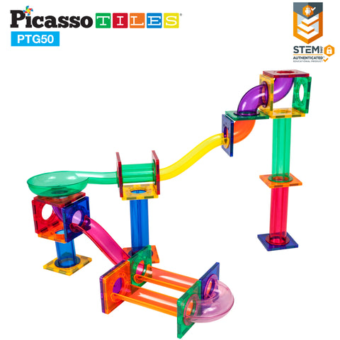 Image of PicassoTiles® 50pc Marble Run Building Blocks PTG50