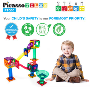 PicassoTiles® 50pc Marble Run Building Blocks PTG50