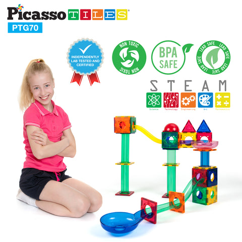 PicassoTiles® 70pc Marble Run Building Blocks PTG70
