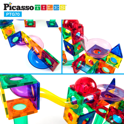 Image of PicassoTiles® 70pc Marble Run Building Blocks PTG70