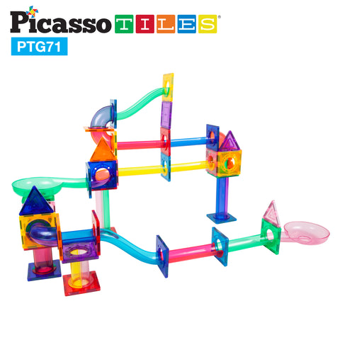 Image of PicassoTiles 71pc Marble Run Building Blocks PTG71